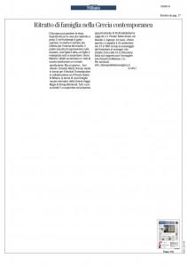 Corriere della Sera, Milano, Ritratto di famiglia della Grecia Contemporanea, 18 settembre 2014