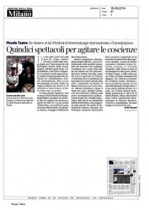 Corriere della Sera, Milano, Quindici spettacoli per agitare le coscienze, 18 settembre 2014