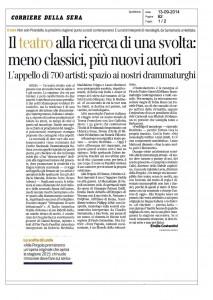 Corriere della Sera, Il teatro alla ricerca di una svolta: meno classici, più nuovi autori, 13 settembre 2014