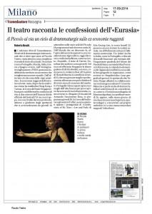 Il Giornale, Milano, Il teatro racconta le confessioni dell'Eurasia, 17 settembre 2014