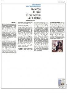 Il Giorno, Milano, in scena la crisi. E poi occhio all'oriente, 13 settembre 2014