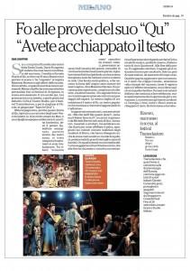 """La Repubblica, Milano, Fo alle prove del suo Qu """"Avete acchiappato il testo"""", 18 settembre 2014"""