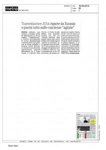 """Metro, Milano, Tramedautore 2014 riparte da Eurasia e punta tutto sulle coscienze """"agitate"""", 16 settembre 2014"""