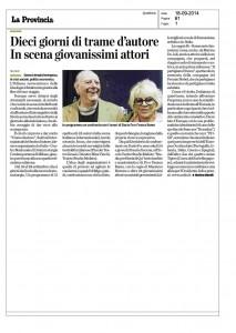La Provincia, Milano, Dieci giorni di Trame d'autore. in scena giovanissimi attori, 18 settembre 2014
