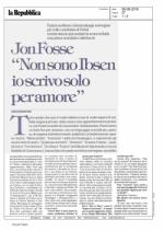 Intervista a Jon Fosse - La Repubblica 06-09-2016